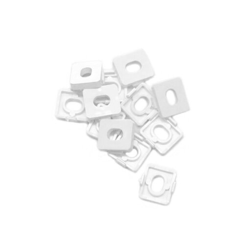 Plastic packers that can be clipped on to uPVC window hinges to raise the stack height