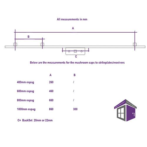 how to measure for an NLINE ESPAG WINDOW LOCK. Inline Espag Lock 20mm Backset 1000mm