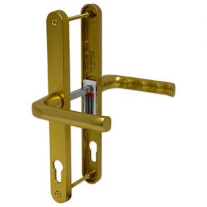 Gold PVC Hoppe London Door Handle Set Pair - The Hoppe London handle is a sleek and modern handle which will give you years of wear and tear and still look great. It is especially made for the Fuhr 72mm door lock.