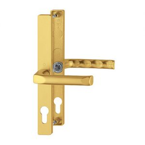 Gold uPVC Hoppe London Door Handle Set Pair - 48PZ The Hoppe London handle is a sleek and modern handle which will give you years of wear and tear and still look great. It is especially made for the Fuhr 47-48mm door lock.
