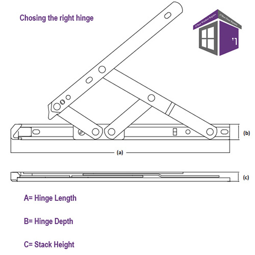 """12"""" Egress Easy Clean Window Friction Hinges (pair) 12"""" 311mm side hung easy clean egress hinges Diagram Length Depth and stack height"""