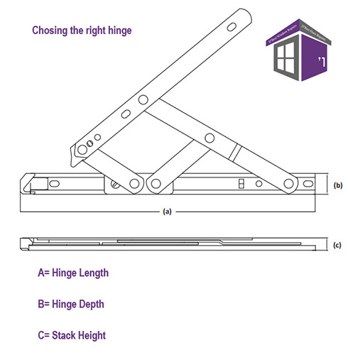 Restricted Friction Stays UPVC Safety Hinges restricts the opening to 100mm