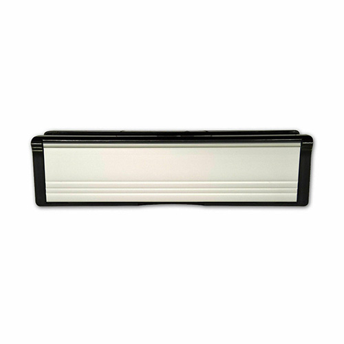 White MILA Contoura UPVC Letter Box 40-80 - 295mm Wide, specs A4 aperture to BS2911; To suit doors with 40mm – 80mm thickness; Nylon brush seal internally