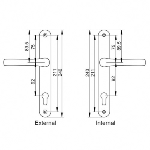 Diagram specs PVC Mila Pro Linea Door Handle Set Pair - The Hoppe London handle is a sleek and modern handle which will give you years of wear and tear and still look great.
