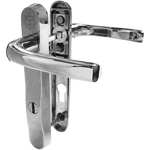 Mila Chrome ProSecure PAS 24 UPVC Door Handle in chrome gold and white. This Mila ProSecure handle is manufactured in high strength zinc alloy reinforced with 2mm gauge mild steel. It comes in a range of colours. The handle itself provides the visual deterrent which Mila recommends to discourage the opportunist