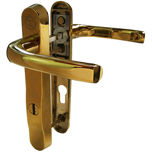 Gold Mila ProSecure High Security Door Handles PZ92. Mila gold ProSecure PAS 24 UPVC Door Handle in chrome gold and white. This Mila ProSecure handle is manufactured in high strength zinc alloy reinforced with 2mm gauge mild steel. It comes in a range of colours. The handle itself provides the visual deterrent which Mila recommends to discourage the opportunist