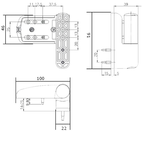 Diagram specs Mila Flag Hinge - This hinge is universal will be suitable for most uPVC doors, however, do check the sizing diagram before ordering