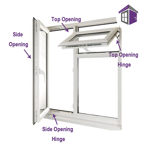 """12"""" Egress Easy Clean Window Friction Hinges (pair) 12"""" 311mm side hung easy clean egress hinges Diagram side hung and top hung hinges identification"""