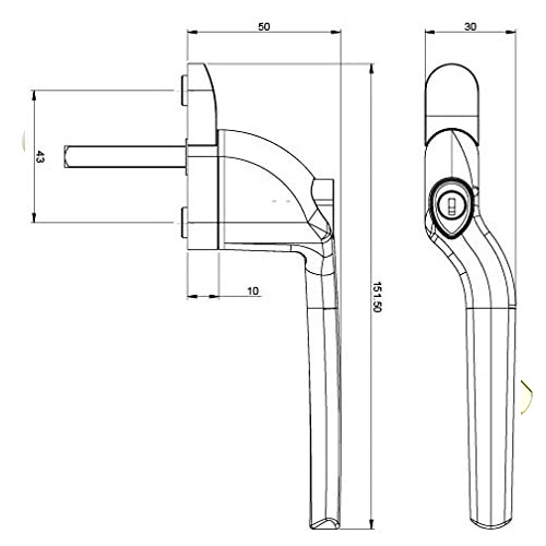 diagram sizes curved Offset crankedlocking espagwindow handles are designed for use with UPVC windows. these replacement window handles are right or left-handed, this means you must order the hand you require, you can find out which hand you need by checking the direction of the opening. Right-handed - the handles open anti-clockwise. Left-handed - the handles open clockwise.