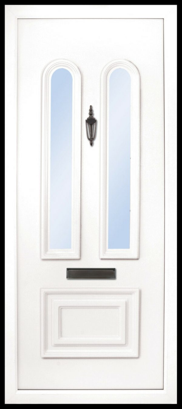 the Main PVC door insert panel is a beautiful and elegant design, with a 1/3 and 2/3 panel ratio. the bottom panel is rectangular in shape and the top has two beautiful and elegant arched glass panels, the Main comes in 3 glass design choices.