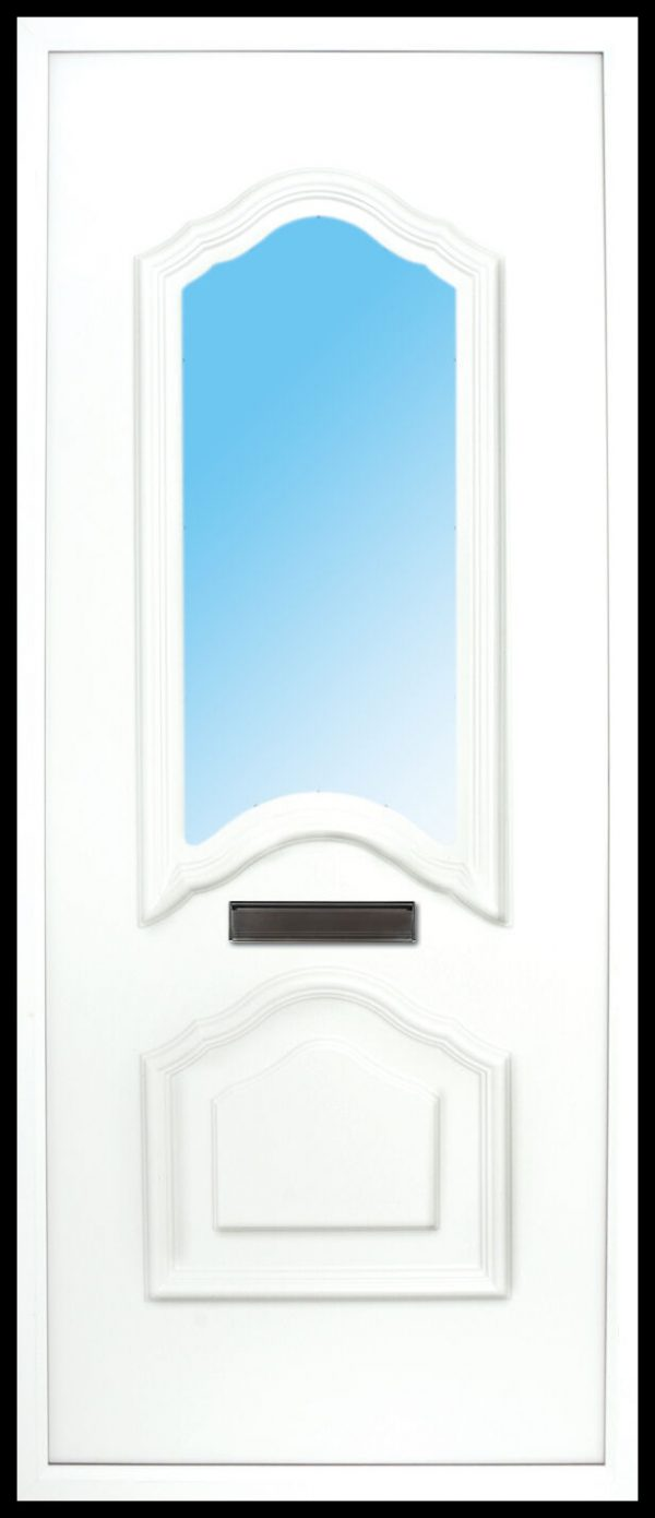 the Mourne Fushion PVC Door Insert Panel is a unique 2-panel design, 2/3 to 1/3 ratio design. It has a beveled panel design for both panels.