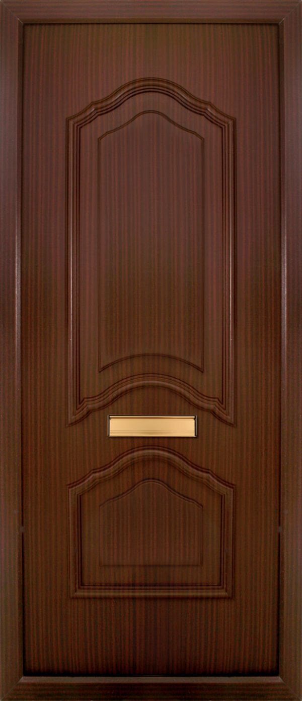 the Mourne Woodgrain PVC Door Insert Panel is a unique 2-panel design, 2/3 to 1/3 ratio design. It has a beveled panel design for both panels.