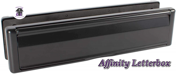 """Black Avocet Affinity 12"""" 309mm Letter Box Plate. The Affinity letterbox will take full A4 size mail with an external flap that opens to 180°. Each flap is sprung and comes with a finger slot for easy opening. It has both an external weather seal and an internal draft seal."""