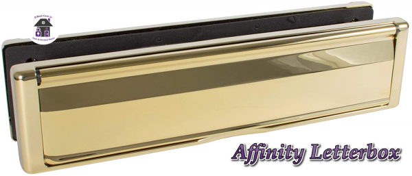 """Gold Avocet Affinity 12"""" 309mm Letter Box Plate. The Affinity letterbox will take full A4 size mail with an external flap that opens to 180°. Each flap is sprung and comes with a finger slot for easy opening. It has both an external weather seal and an internal draft seal."""