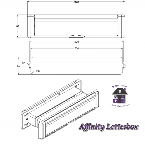 """Technical specs Avocet Affinity 12"""" 309mm Letter Box Plate. The Affinity letterbox will take full A4 size mail with an external flap that opens to 180°. Each flap is sprung and comes with a finger slot for easy opening. It has both an external weather seal and an internal draft seal."""