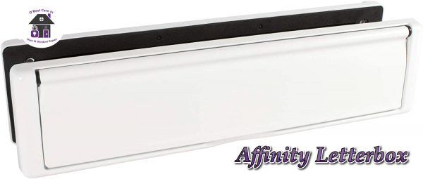 """White Avocet Affinity 12"""" 309mm Letter Box Plate. The Affinity letterbox will take full A4 size mail with an external flap that opens to 180°. Each flap is sprung and comes with a finger slot for easy opening. It has both an external weather seal and an internal draft seal."""