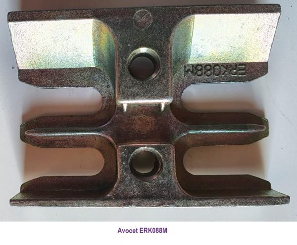 Avocet ERK088m. These Mushroom Espag keeps are commonly used on UPVC window profiles, each keep has the part number under the photo, however these plates are designed to accept a mushroom cam, the type fitted to many UPVC window espag locks We also sell the universal strike plate (ERKUNIM) which is marked on the photo, and is a universal window keep so will fit just about all uPVC windows with an espag and mushroom cams. The back or bottom of this keep is flat so it can be made to fit most window profiles. Usually found on uPVC double glazed windows, this keep accepts a mushroom cam which is a common window lock used in PVC windows.
