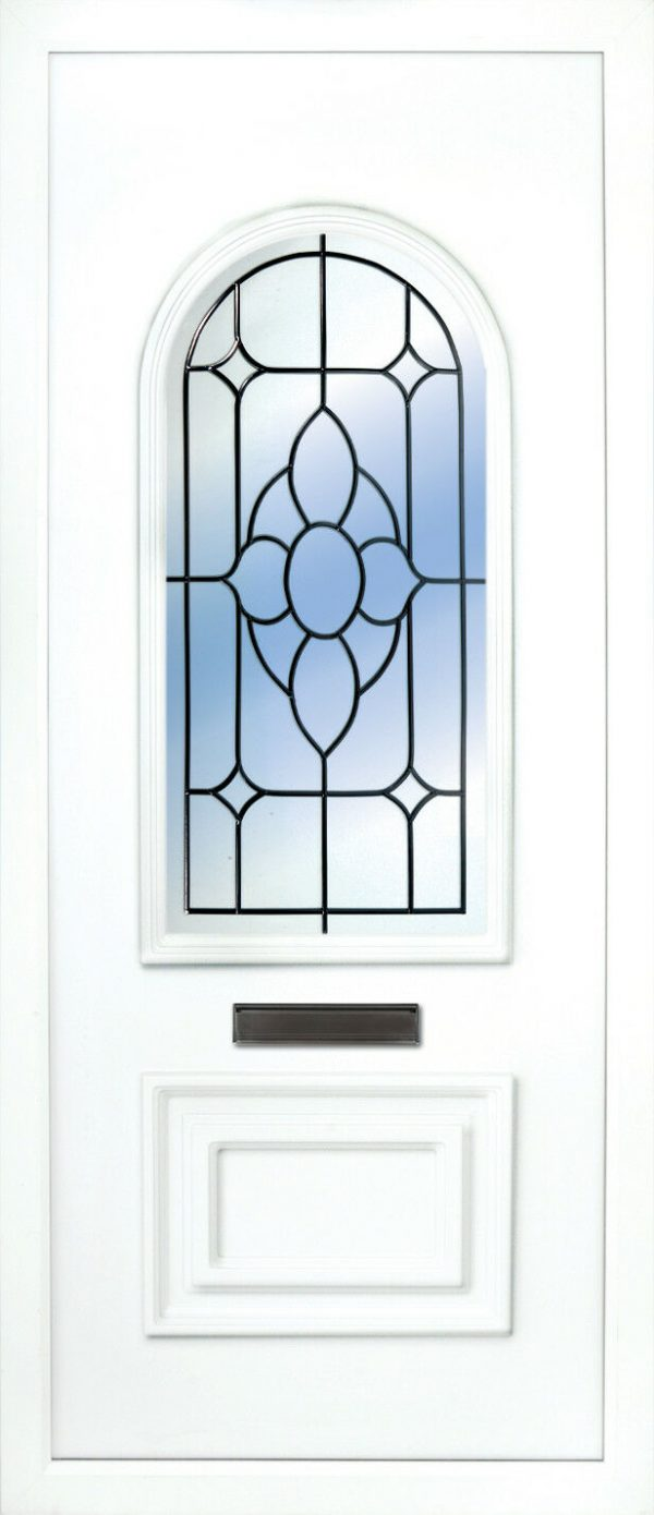 the Blackwater Beveled Diamond PVC Door Insert Panel is a 2 panels door, this design is more a 2/3 and 1/3 panel design, the bottom panel is square and the top is beautifully arched. This panel comes in a choice of colours and 6 glass designs so there is something for every design taste.