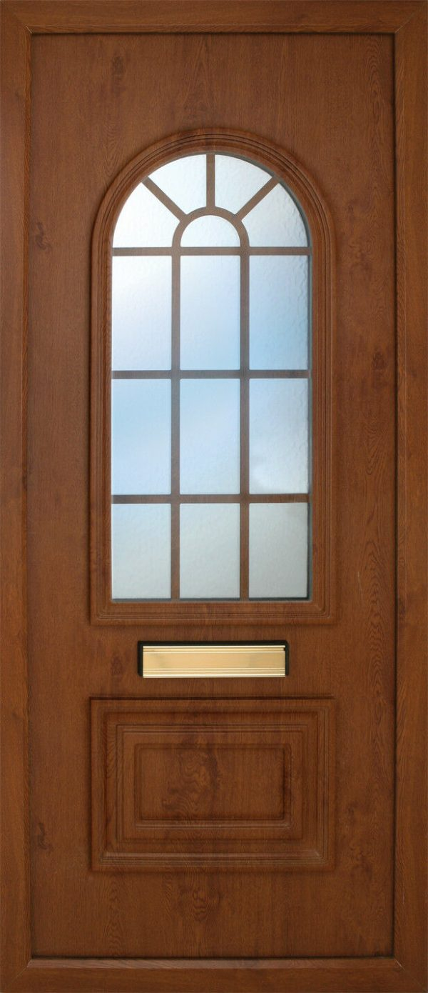 the Blackwater Leaded Oakwood PVC Door Insert Panel is a 2 panels door, this design is more a 2/3 and 1/3 panel design, the bottom panel is square and the top is beautifully arched. This panel comes in a choice of colours and 6 glass designs so there is something for every design taste.
