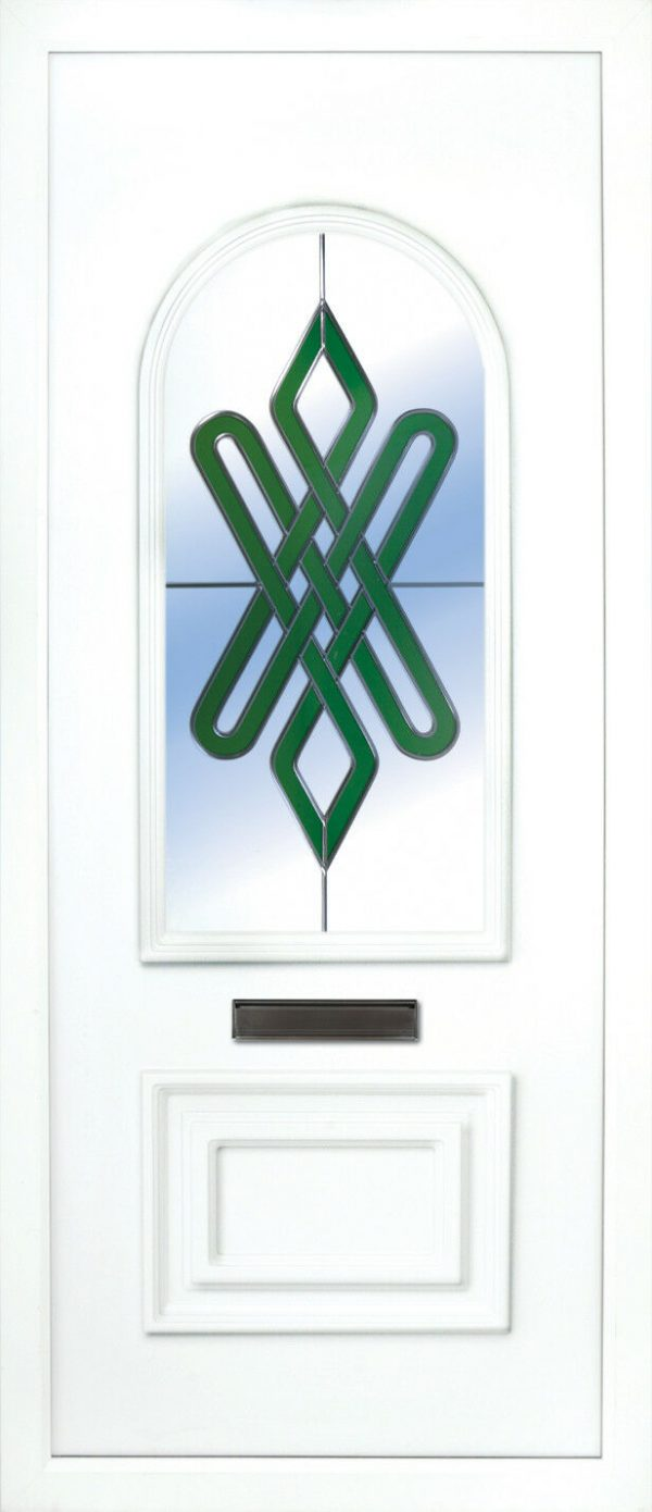 the Blackwater beveled green PVC Door Insert Panel is a 2 panels door, this design is more a 2/3 and 1/3 panel design, the bottom panel is square and the top is beautifully arched. This panel comes in a choice of colours and 6 glass designs so there is something for every design taste.