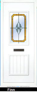The Finn PVC door insert panels is a 2-panel insert. The bottom panel is a T&T design and the top is rectangular in design, the Finn has 3 glass deigns to chose from.