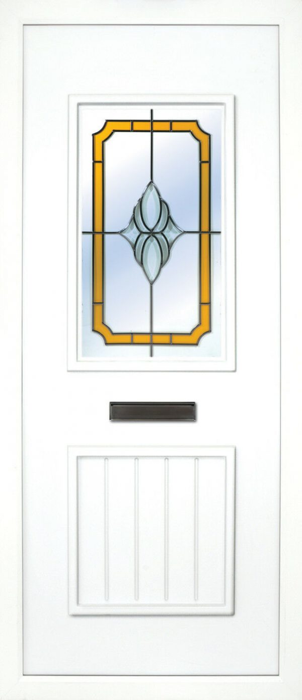 The Finn Yellow mellow PVC door insert panels is a 2-panel insert. The bottom panel is a T&T design and the top is rectangular in design, the Finn has 3 glass designs to choose from.