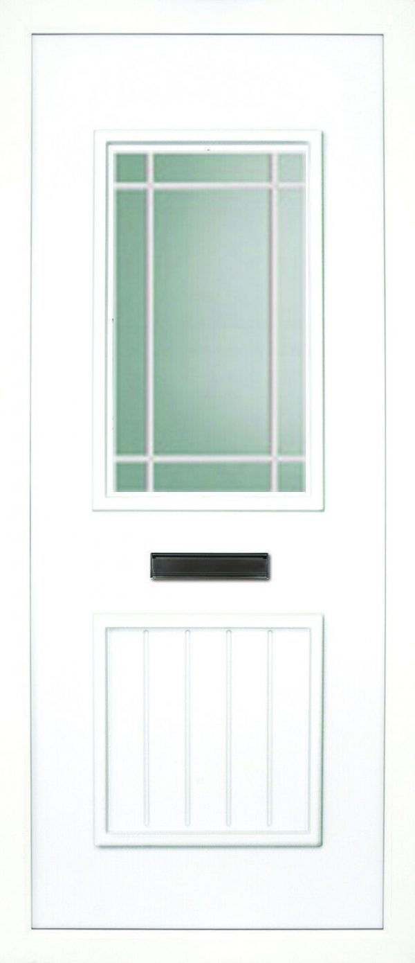 The Finn leaded fusion PVC door insert panels is a 2-panel insert. The bottom panel is a T&T design and the top is rectangular in design, the Finn has 3 glass designs to choose from.