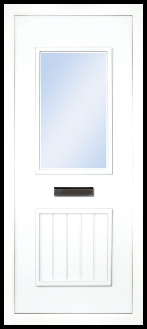 The Finn plain PVC door insert panels is a 2-panel insert. The bottom panel is a T&T design and the top is rectangular in design, the Finn has 3 glass designs to choose from.