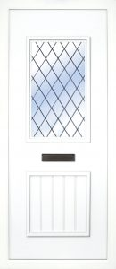 The Finn Leaded PVC door insert panels is a 2-panel insert. The bottom panel is a T&T design and the top is rectangular in design, the Finn has 3 glass designs to chose from.
