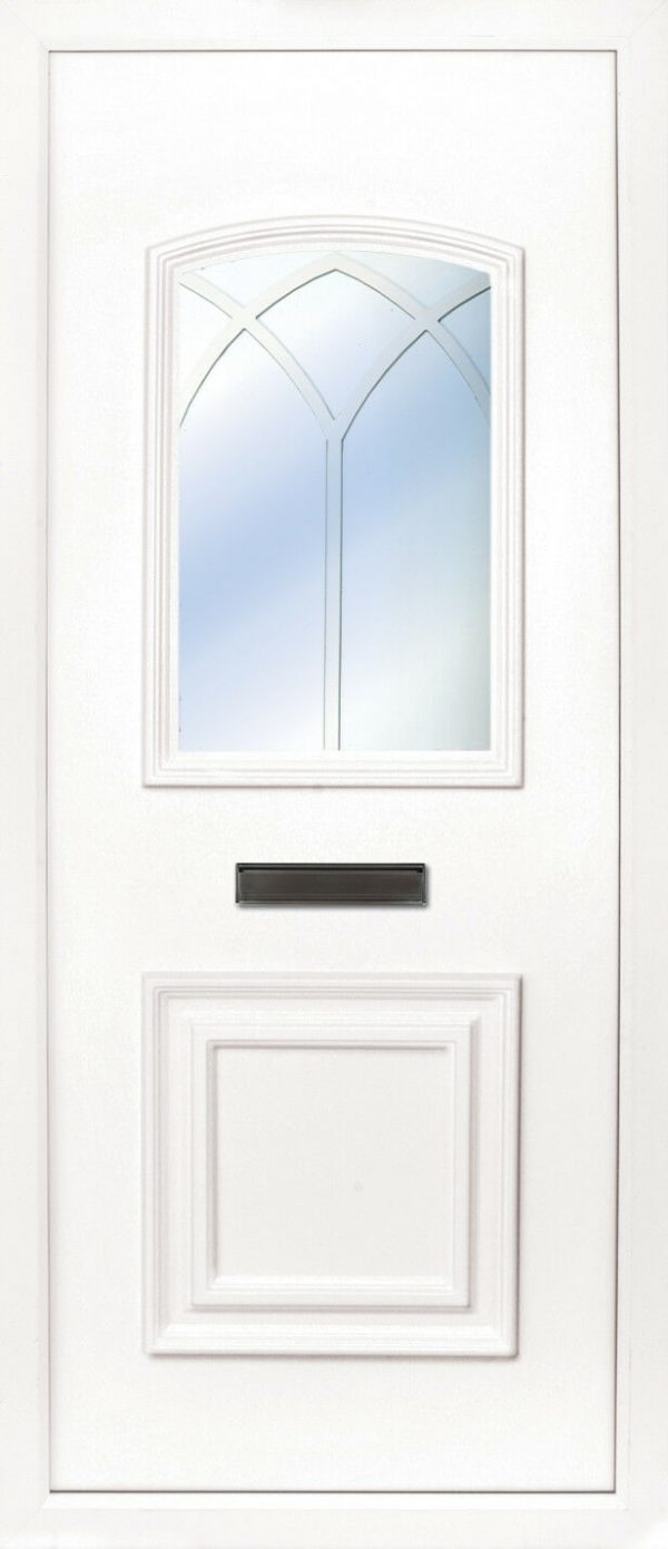 The Foyle gothic arch PVC door insert panel, the bottom panel is square panel design with the top having an ever so slight arch to the top, you have 5 glass designs to choose from and the Foyle 2 has a glass penal to the TOP AND BOTTOM of the panel.