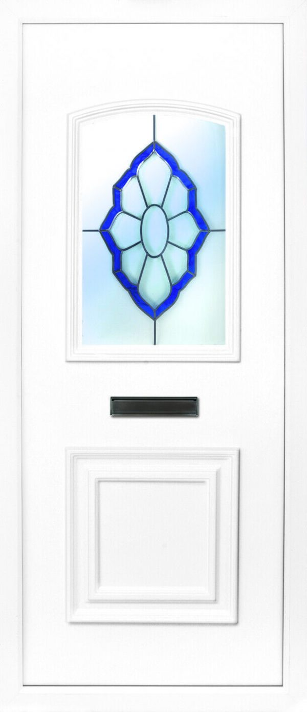The Foyle beveled blue PVC door insert panel, the bottom panel is square panel design with the top having an ever so slight arch to the top, you have 5 glass designs to choose from and the Foyle 2 has a glass penal to the TOP AND BOTTOM of the panel.