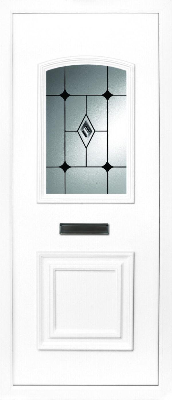 The Foyle beveled black diamond 2 panel PVC door insert