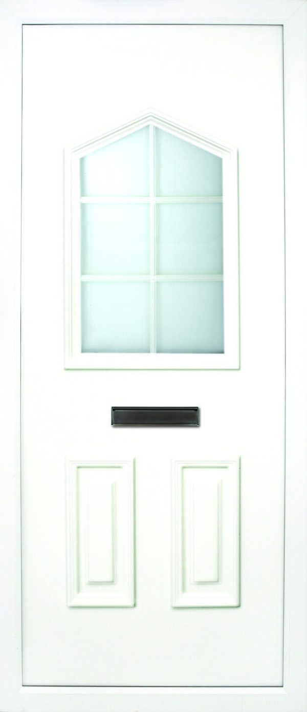the Moy Georgian PVC Door Insert Panelis a unique 3-panel design, with 2 smaller panels to the bottom and one larger triangle box glass designed on top. You can choose from 3 glass designs with this panel