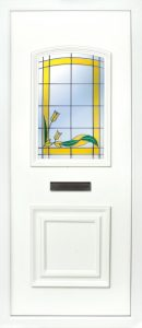 The Foyle yellow rose 2 panel PVC door insert panel, the bottom panel is square panel design with the top having an ever so slight arch to the top, you have 5 glass designs to choose from and the Foyle 2 has a glass penal to the TOP AND BOTTOM of the panel.