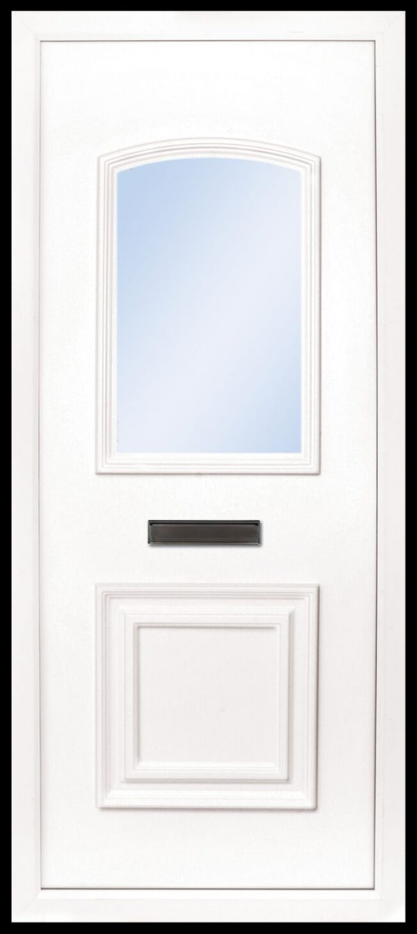 The Foyle 2 panel PVC door insert panel, the bottom panel is square panel design with the top having an ever so slight arch to the top, you have 5 glass designs to choose from and the Foyle 2 has a glass penal to the TOP AND BOTTOM of the panel.