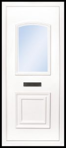 The Foyle is a 2 panel PVC door insert panel, the bottom panel is square panel design with the top having an ever so slight arch to the top, you have 5 glass designs to choose from and the Foyle 2 has a glass penal to the TOP AND BOTTOM of the panel.