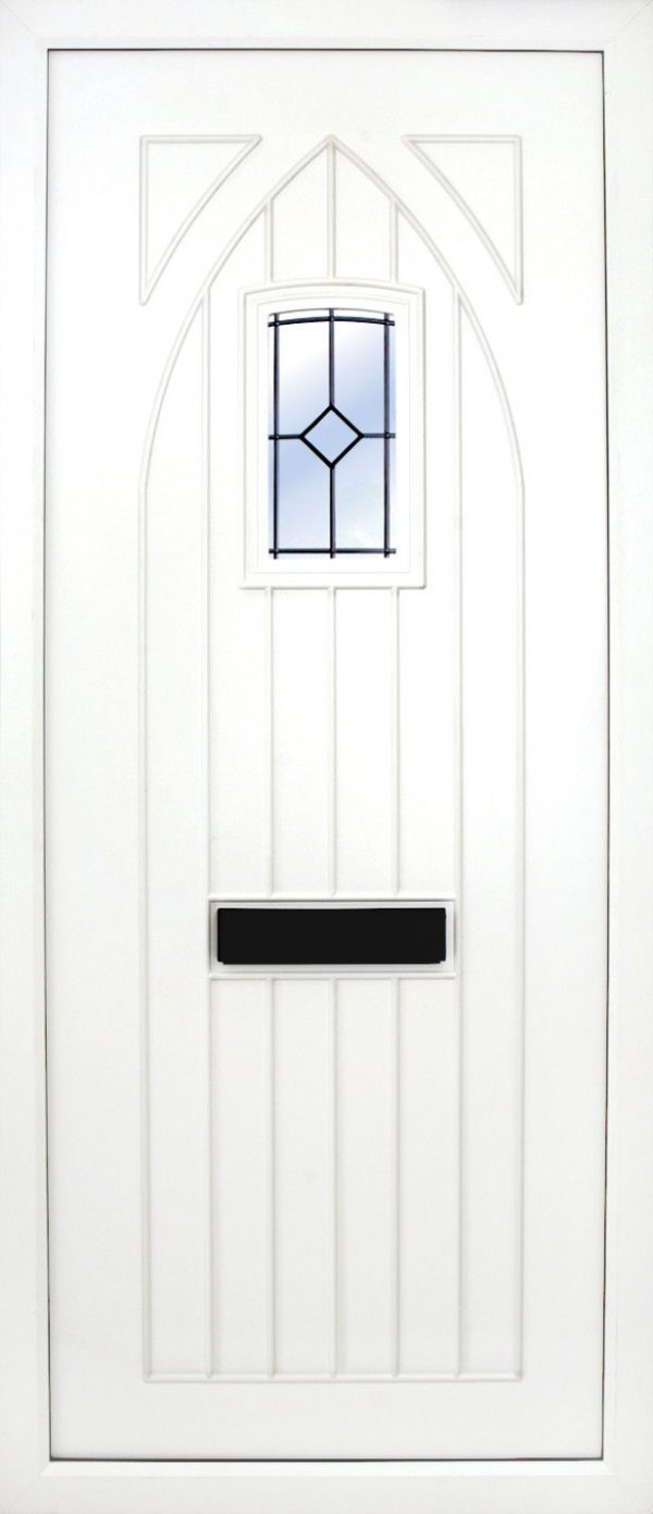 the Gothic Glazed PVC Door Insert Panel is just that, a T&G Gothic top design door with a semi arch glass pane to the top. It will suit any home but is at home with stone facades or old stone cottages. There is a choice of 2 glass designs and a large section of colours