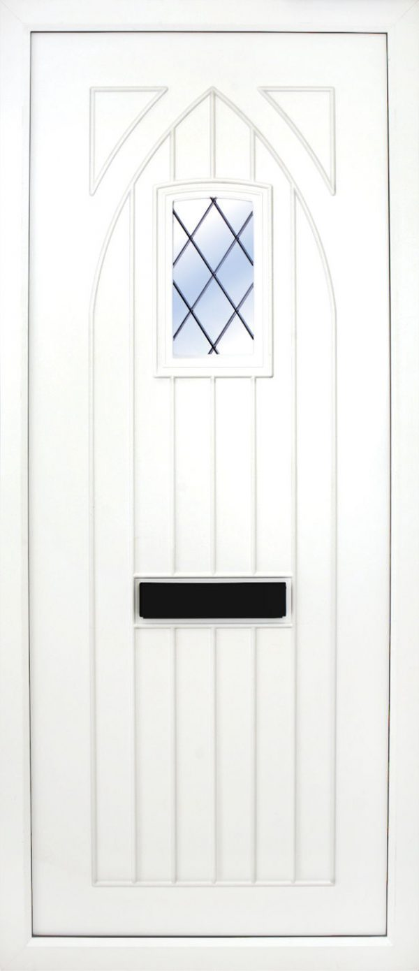 the Gothic Leaded PVC Door Insert Panel is just that, a T&G Gothic top design door with a semi arch glass pane to the top. It will suit any home but is at home with stone facades or old stone cottages. There is a choice of 2 glass designs and a large section of colours