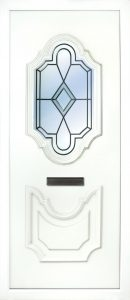 The Lagan leaded PVC Door insert panel has 2 distinct panels with are florelette in design, the bottom panel is solid and the top panel has a choice of 6 glass designs to choose from.