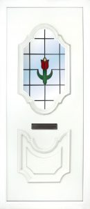 The Lagan Roses PVC Door insert panel has 2 distinct panels with are florelette in design, the bottom panel is solid and the top panel has a choice of 6 glass designs to choose from.