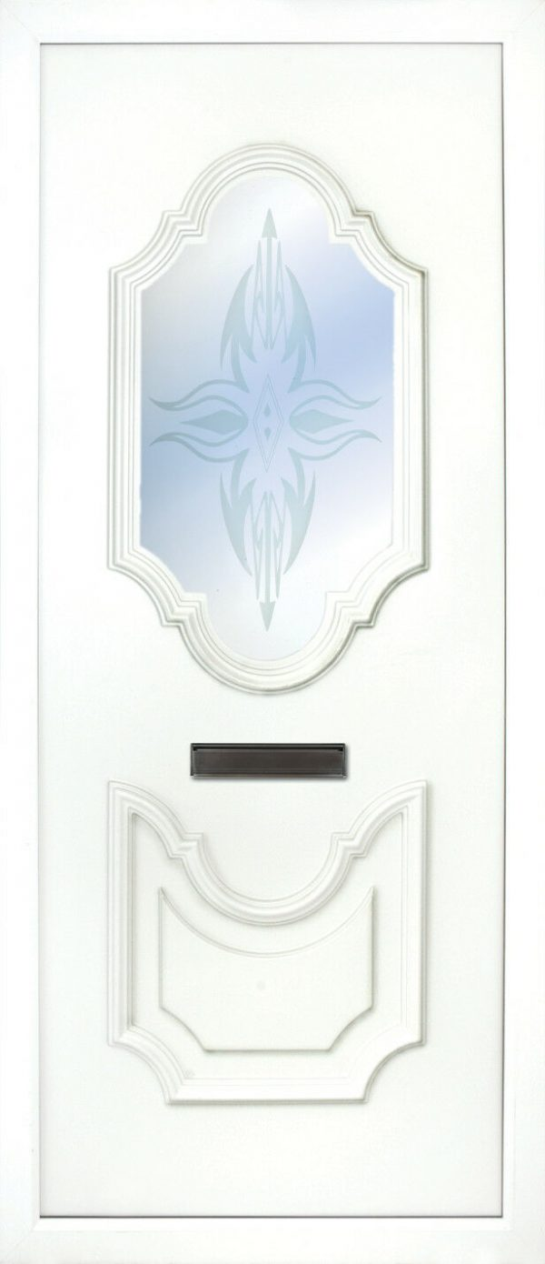 The Lagan Sandblasted PVC Door insert panel has 2 distinct panels with are florelette in design, the bottom panel is solid and the top panel has a choice of 6 glass designs to choose from.