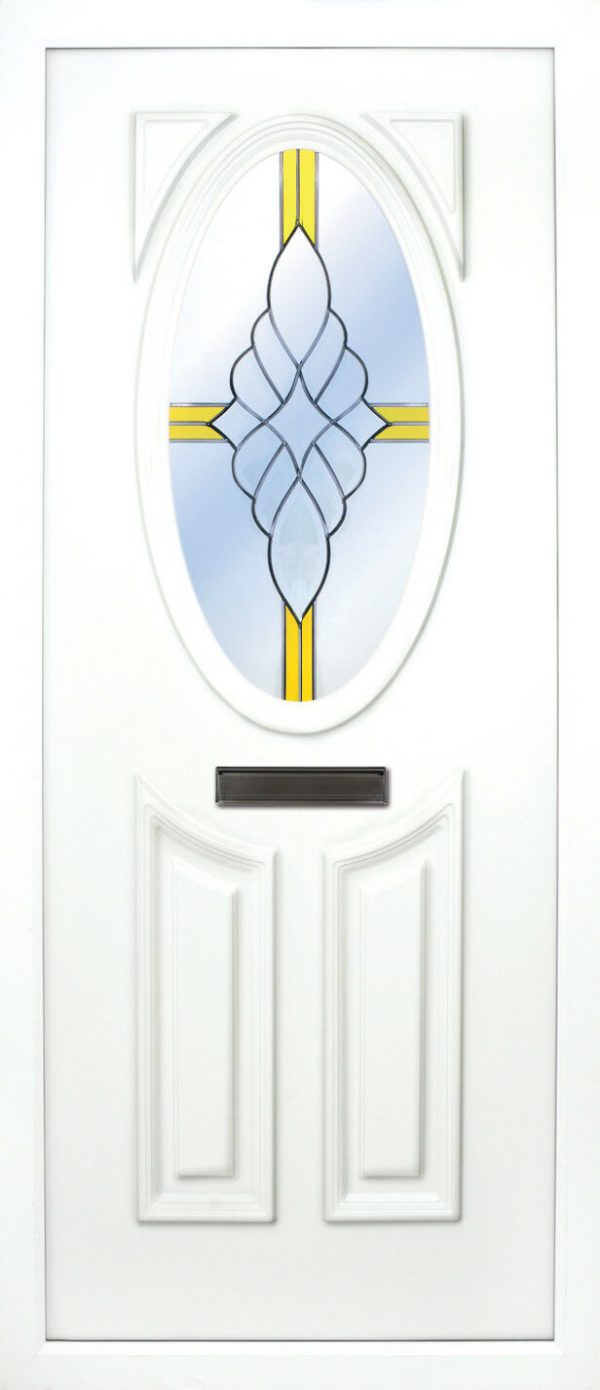 the Lee beveled 2 PVC door insert panel has 3 panels, 2 bottom panels within the inverted oval shape to the tops and the top panel is an oval, you have a choice of 6 door panel designs with the Lee and an array of colour choices