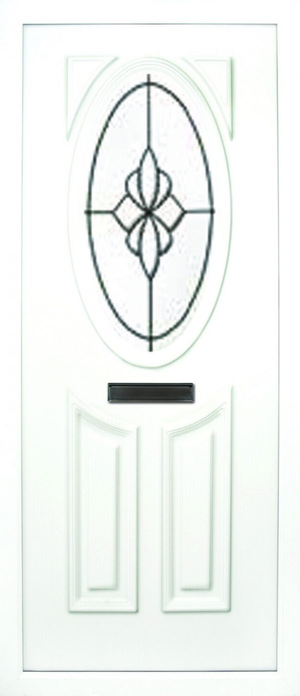 the Lee beveled 3 PVC door insert panel has 3 panels, 2 bottom panels within the inverted oval shape to the tops and the top panel is an oval, you have a choice of 6 door panel designs with the Lee and an array of colour choices