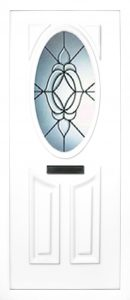 the Lee beveled PVC door insert panel has 3 panels, 2 bottom panels with in inverted oval shape to the tops and the top panel is an oval, you have a choice of 6 door panel designs with the Lee and an array of colour choices