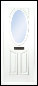 the Lee PVC door insert panel has 3 panels, 2 bottom panels with in inverted oval shape to the tops and the top panel is an oval, you have a choice of 6 door panel designs with the Lee and an array of colour choices
