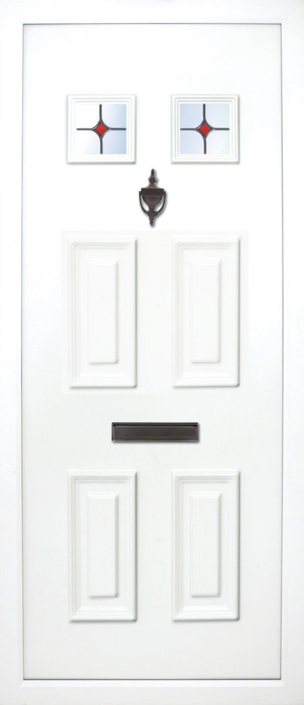 The Liffey 6 panel 4 glazed PVC Door Insert Panel. This solid door panel has a 2 solid panels to the bottom and all 4 top ones are glazed. it is traditional and suitable for most homes but looks best on older cottages or bungalows etc.