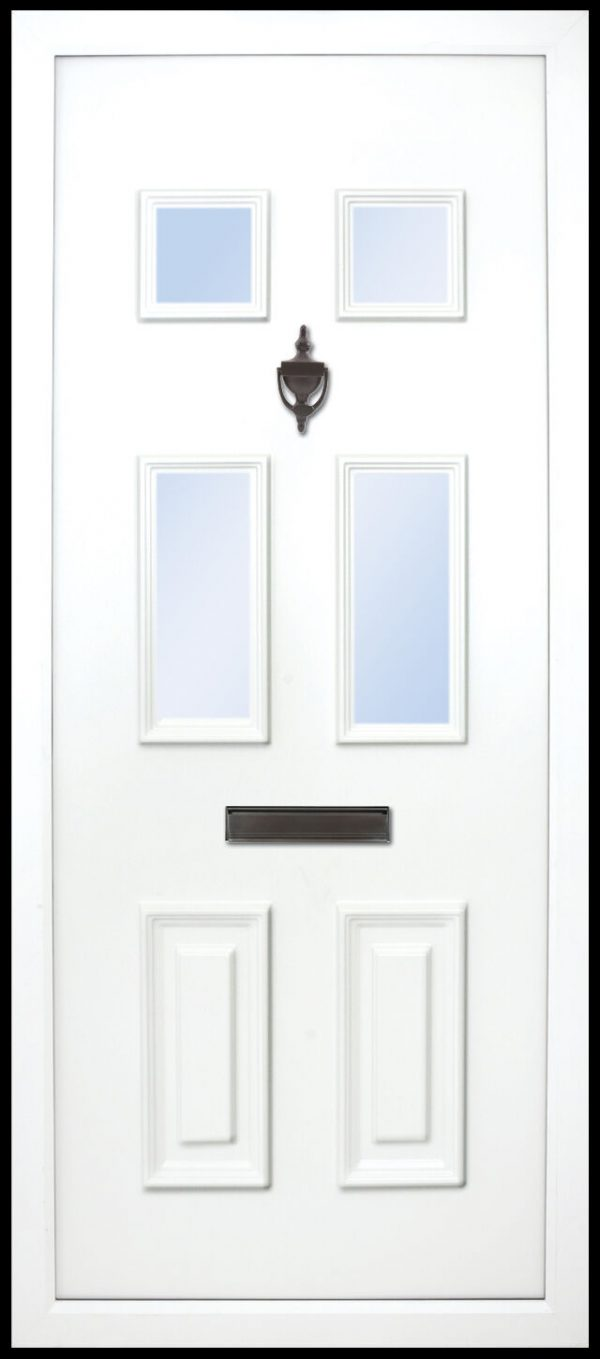 The Liffey 6 panel PVC Door Insert Panel. This solid door panel has a 2 solid panels to the bottom and all 4 top ones are glazed. it is traditional and suitable for most homes but looks best on older cottages or bungalows etc.