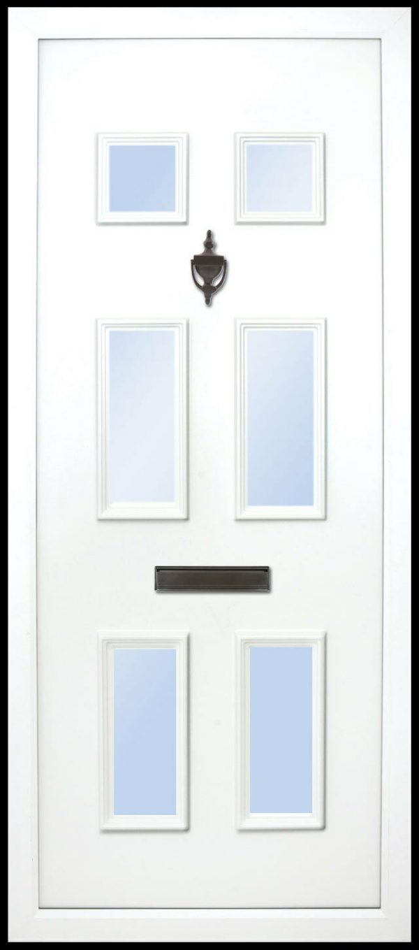 This solid door panel has a six-panel all glazed design. all 6 are glazed, it is traditional and suitable for most homes but looks best on older cottages or bungalows etc.