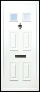 This solid door panel has a six-panel design. 2 at the top are glazed, it is traditional and suitable for most homes but looks best on older cottages or bungalows etc.
