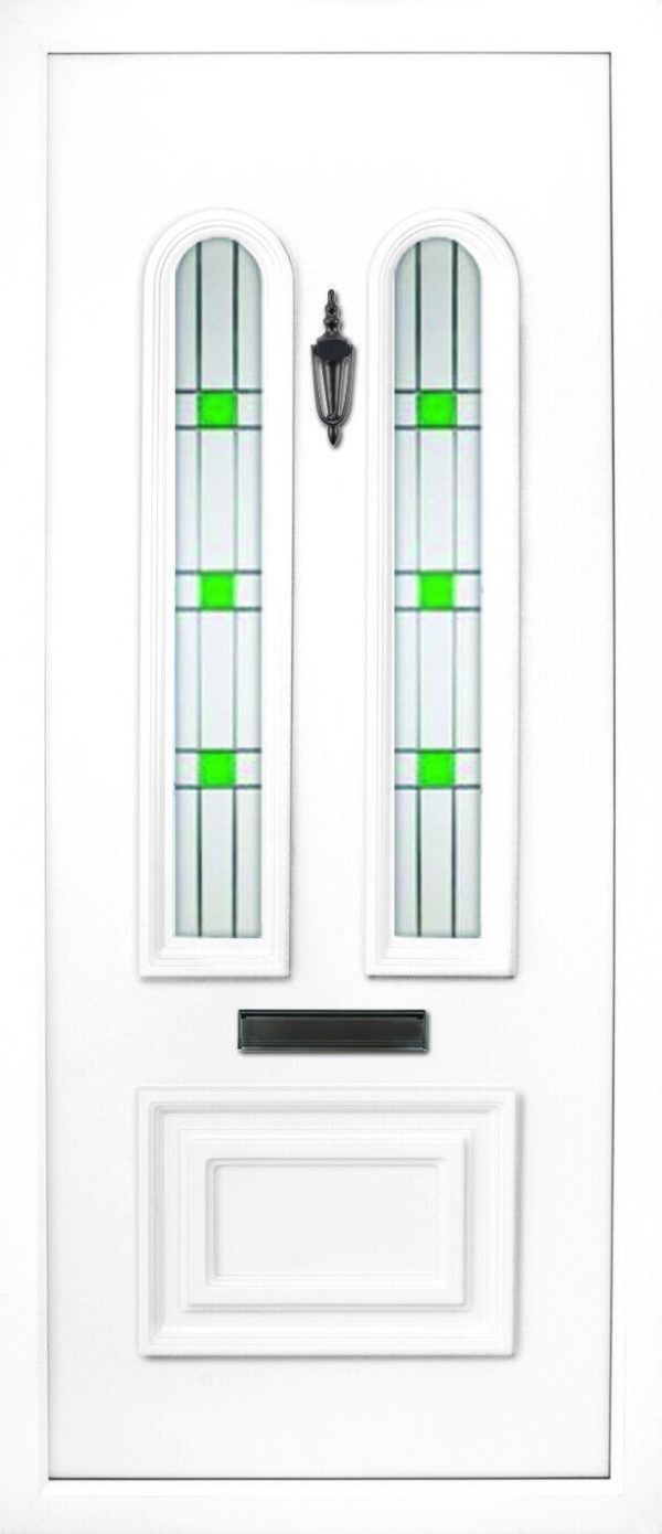 the Main Leaded PVC door insert panel is a beautiful and elegant design, with a 1/3 and 2/3 panel ratio. the bottom panel is rectangular in shape and the top has two beautiful and elegant arched glass panels, the Main comes in 3 glass design choices.